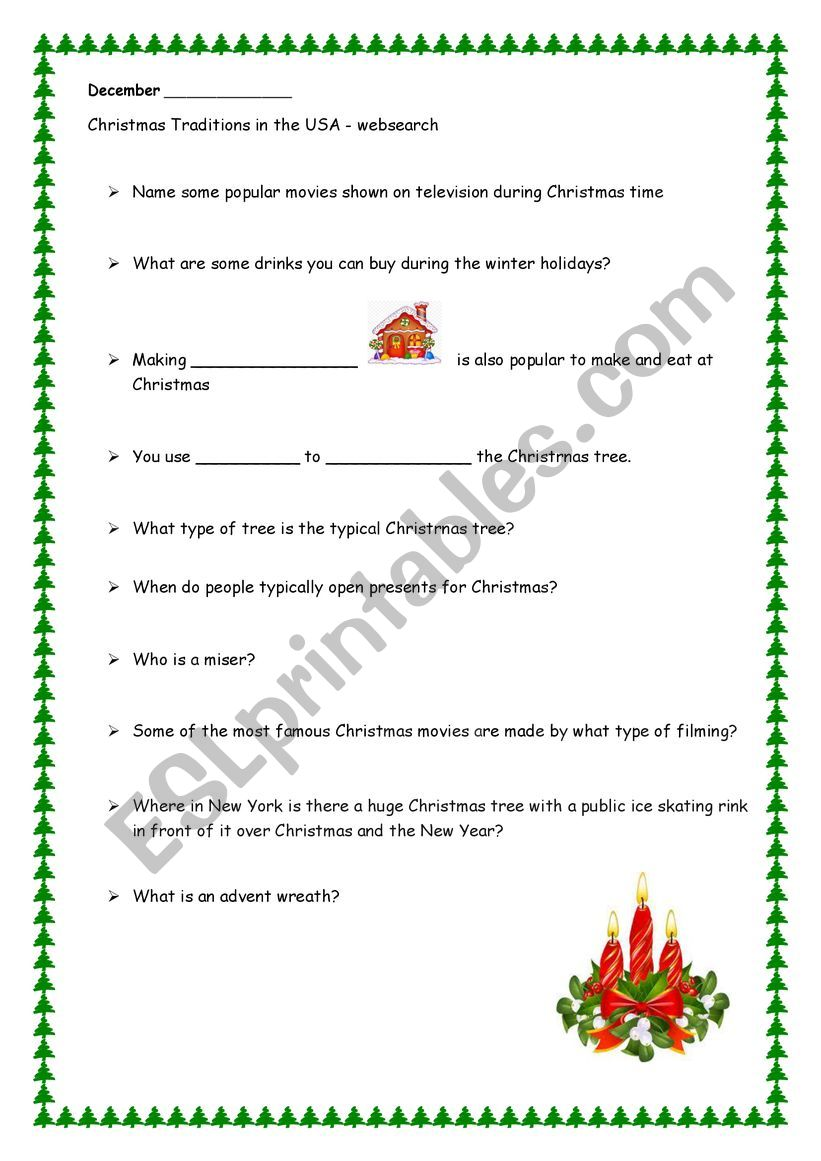 Some Christmas traditions in the USA - websearch