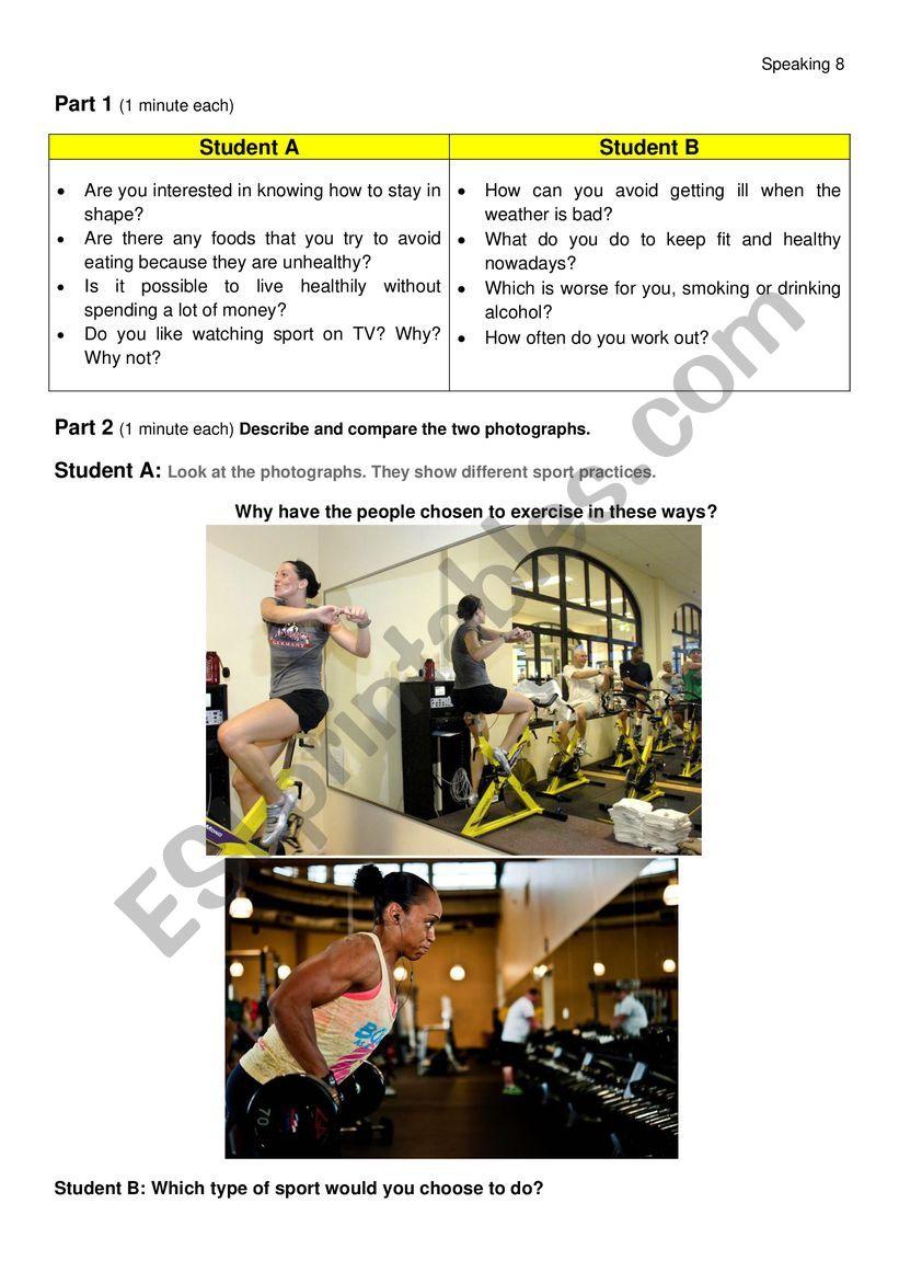 Health and Sport Speaking FCE worksheet