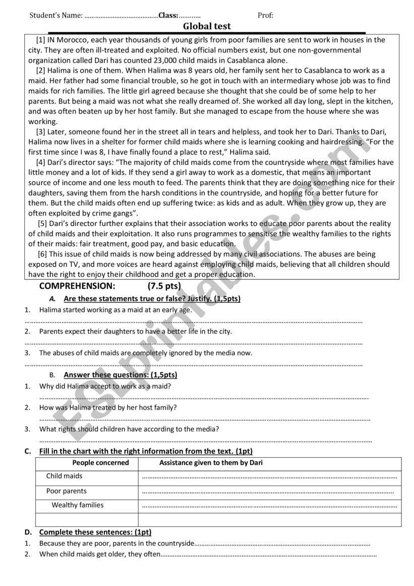 global test 2bac worksheet
