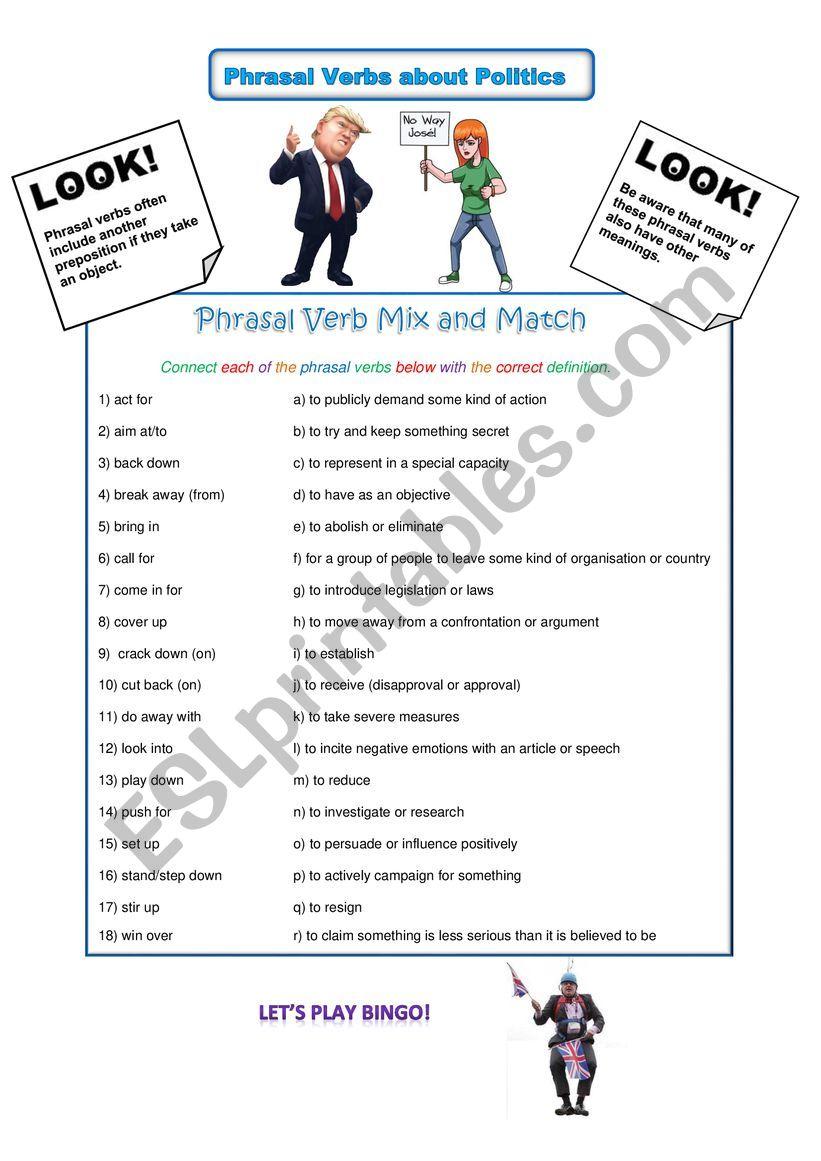 Phrasal Verbs About Politics worksheet
