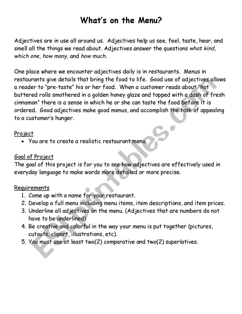 What�s on the Menu  worksheet