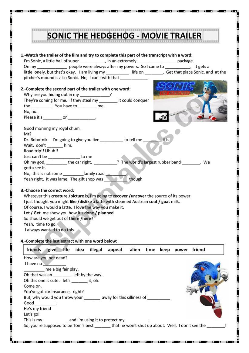 Sonic The Hedgehod Movie Trailer Esl Worksheet By Angiec4