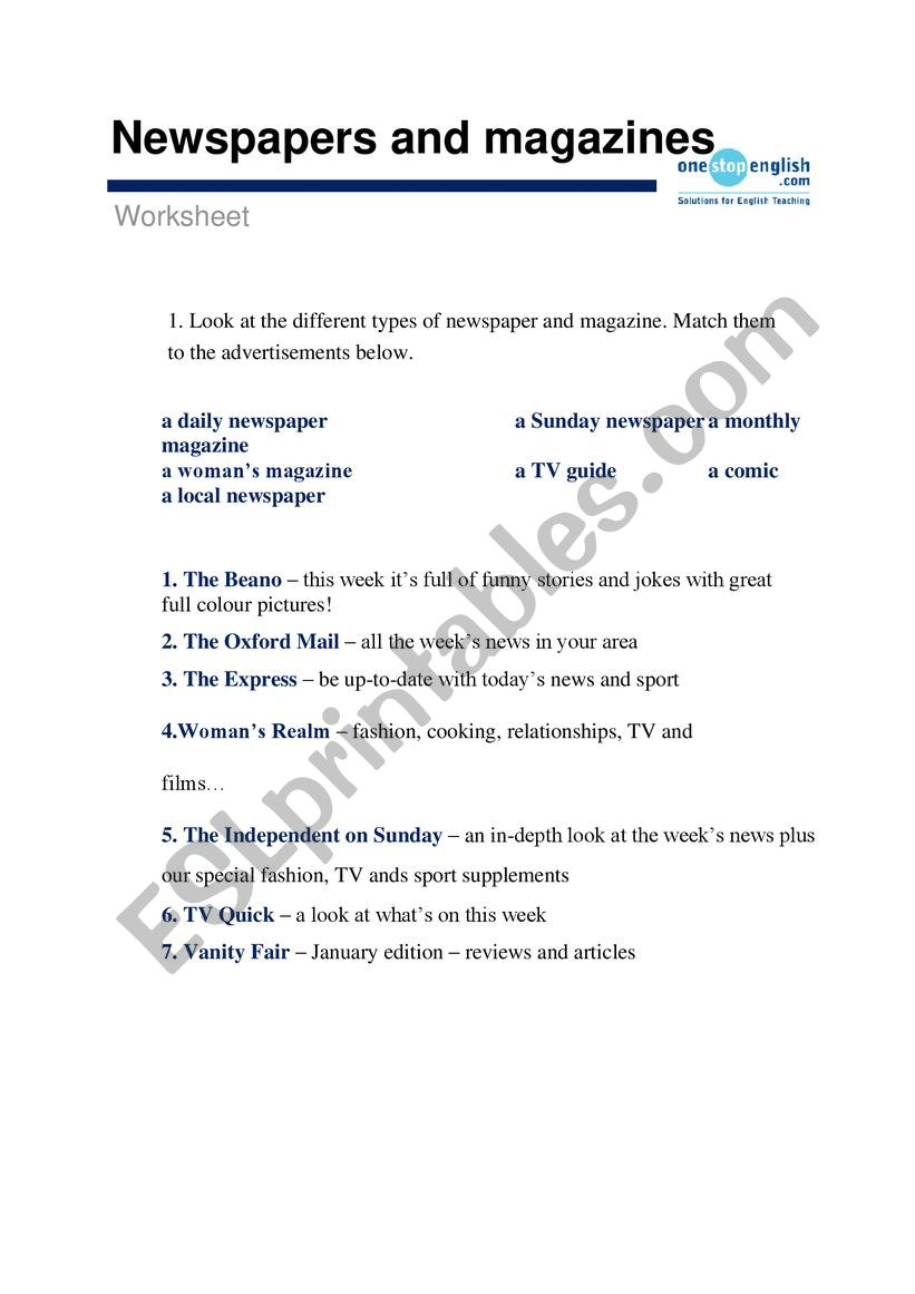 Newspapers and magazines worksheet