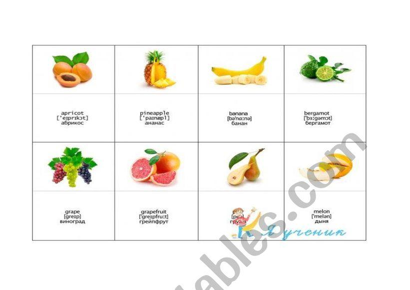 Fruits card worksheet