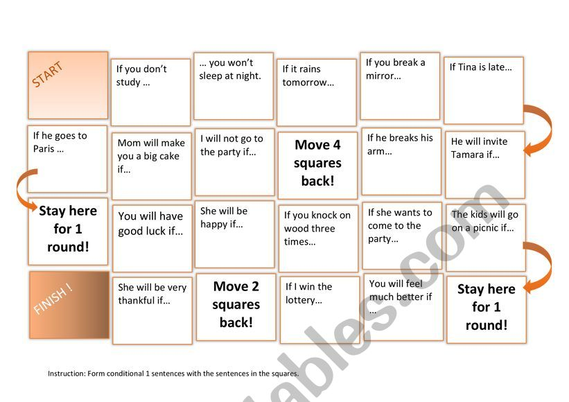 Conditional 1 board game worksheet