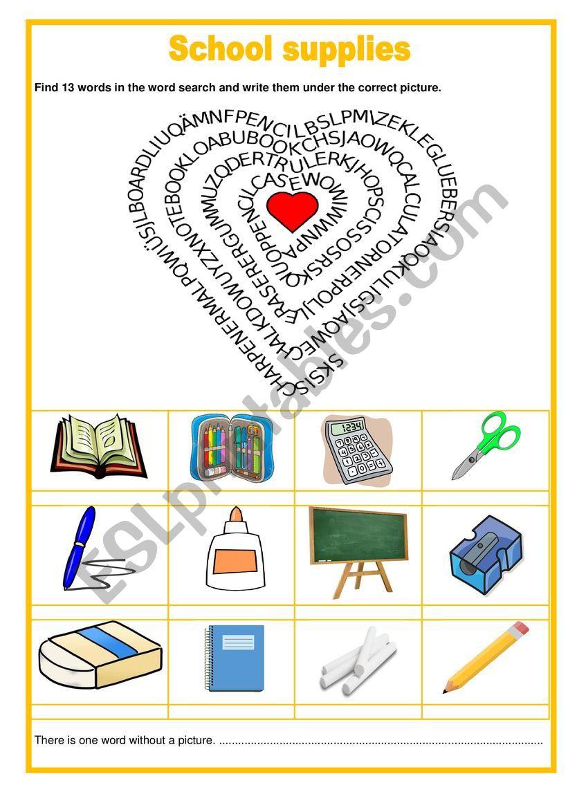 Wordsearch - Scool supplies worksheet