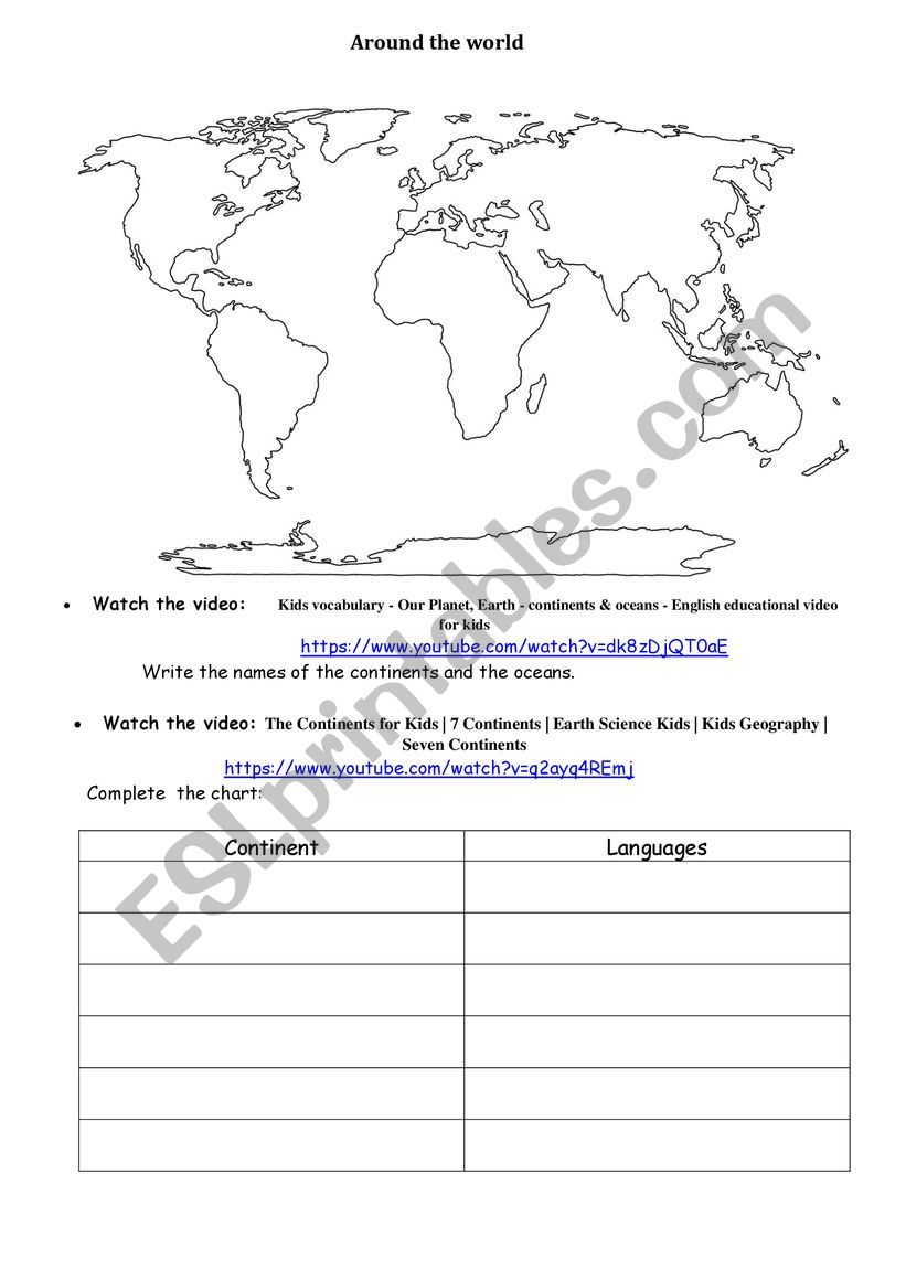 CONTINENTS, OCEAN, LANGUAGES worksheet