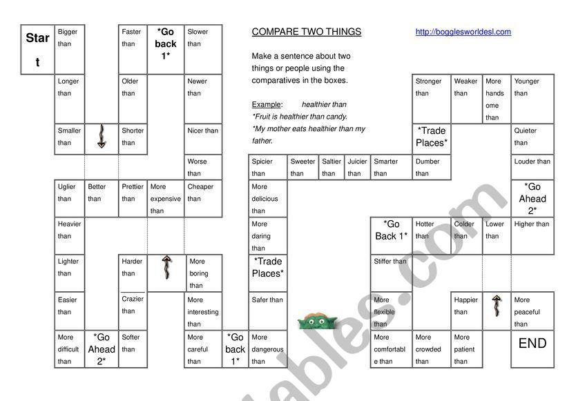 COMPARATIVE BOARD GAME worksheet