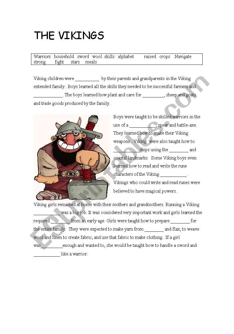 The vikings worksheet