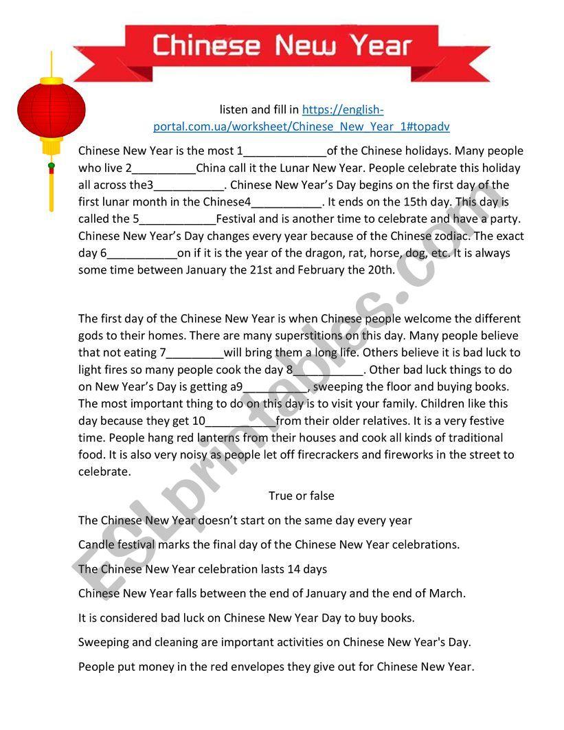 Chinese New Year worksheet