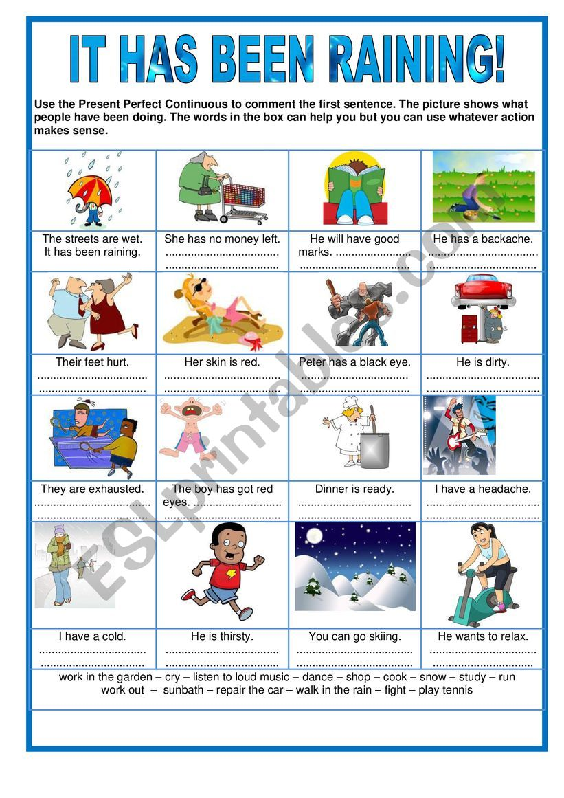 It has been raining - Present perfect continuous