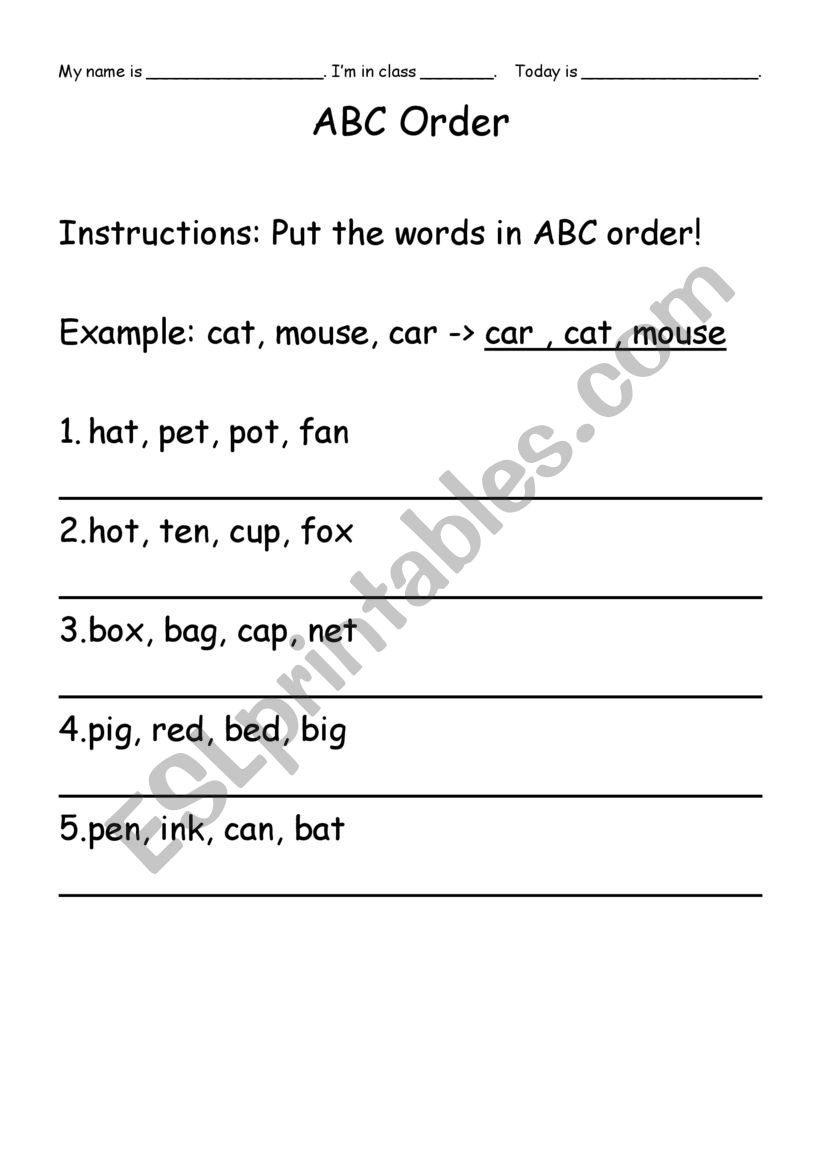 ABC Word Order worksheet