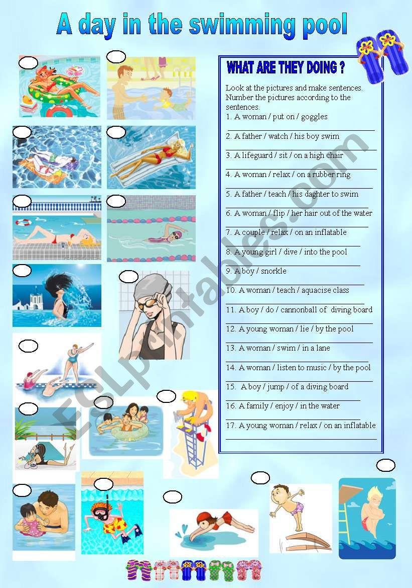 A day in the swimming pool (present progressive)