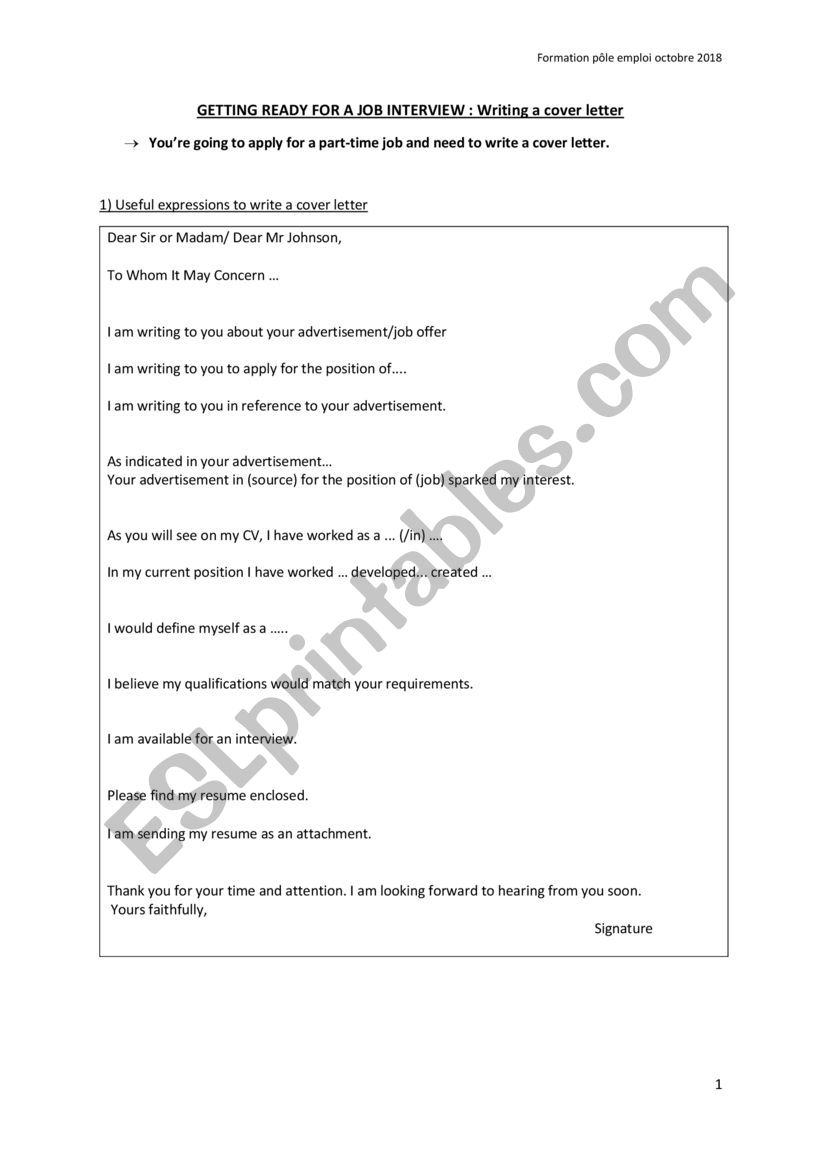 Tips For Writing Cover Letter from www.eslprintables.com