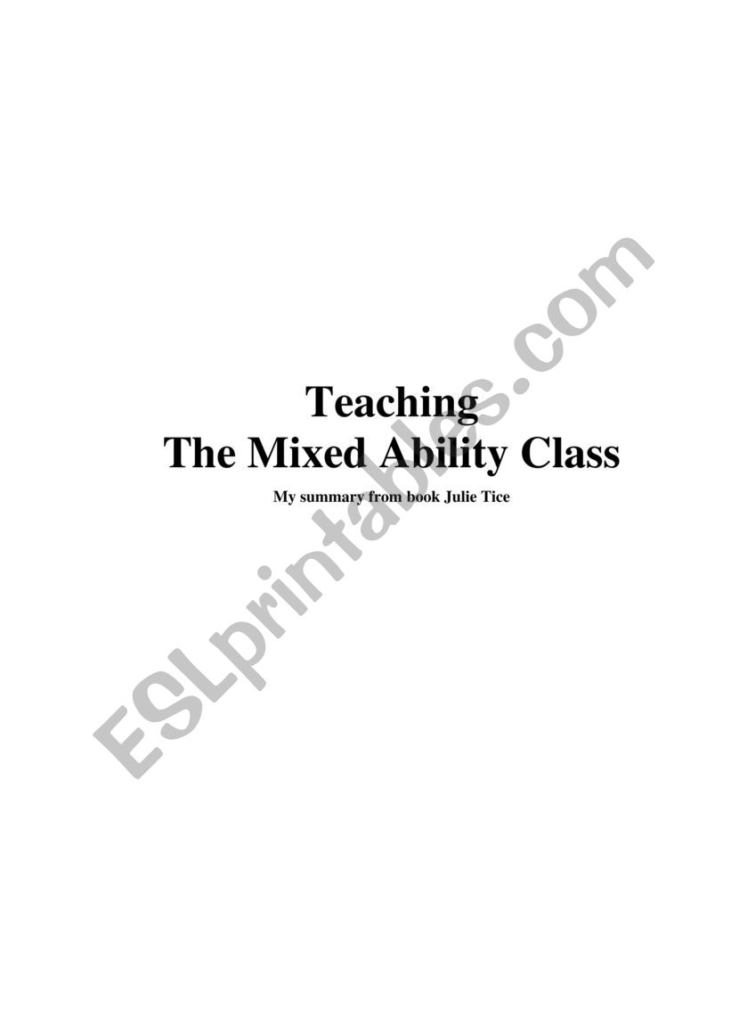 The mixed ability worksheet