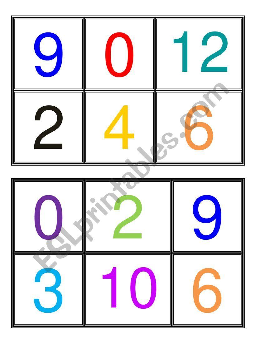 BINGO NUMBERS 0-12_ZERO TO TWELVE + TWO ADDITIONAL BLANK TABLES