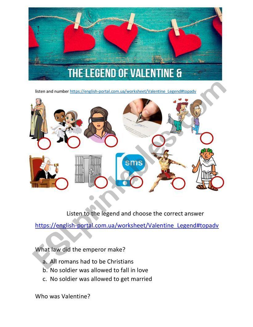 The Legend of Valentine worksheet