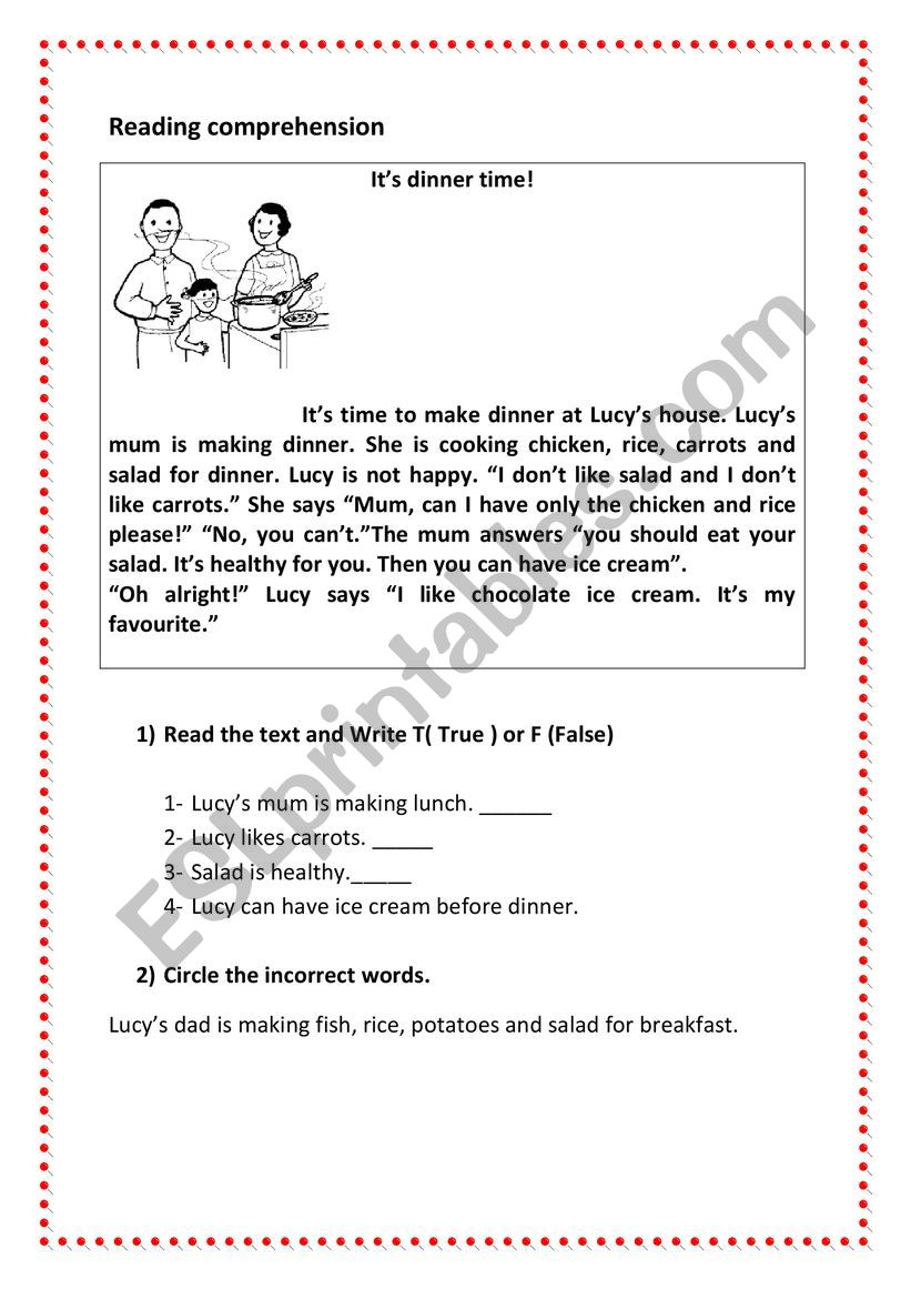 - Esl-reading Comprehension Activity / Topic: Family Meal - ESL