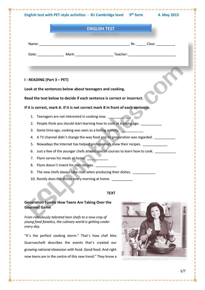 English test with PET style exam activities