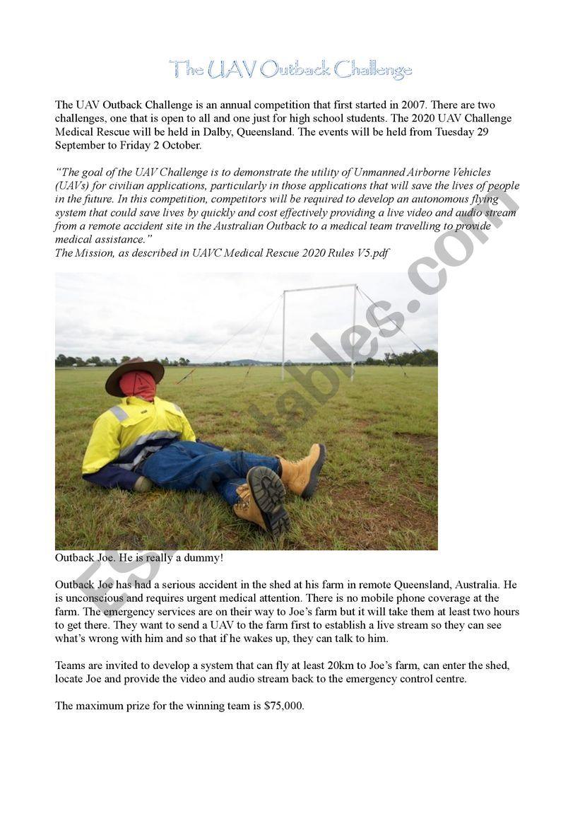 Outback Challenge worksheet
