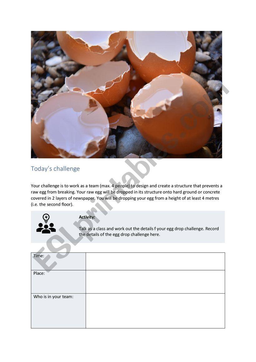 Egg drop challenge worksheet