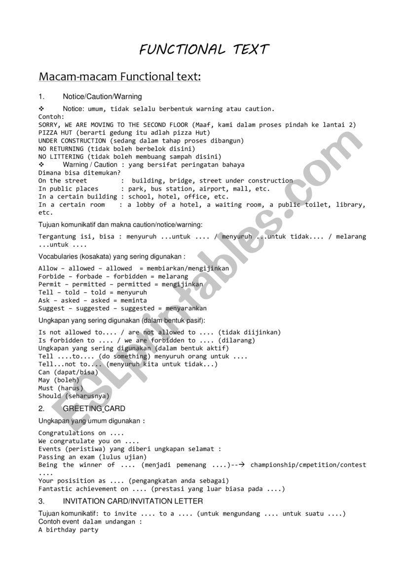 FUNCTIONAL TEXT worksheet