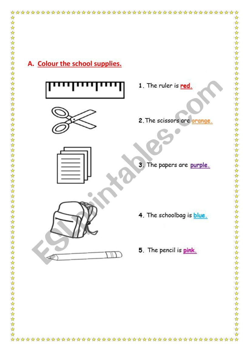 classroom subjects worksheet