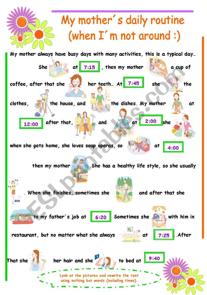 Vocabulary Daily Routine (3rd Person)