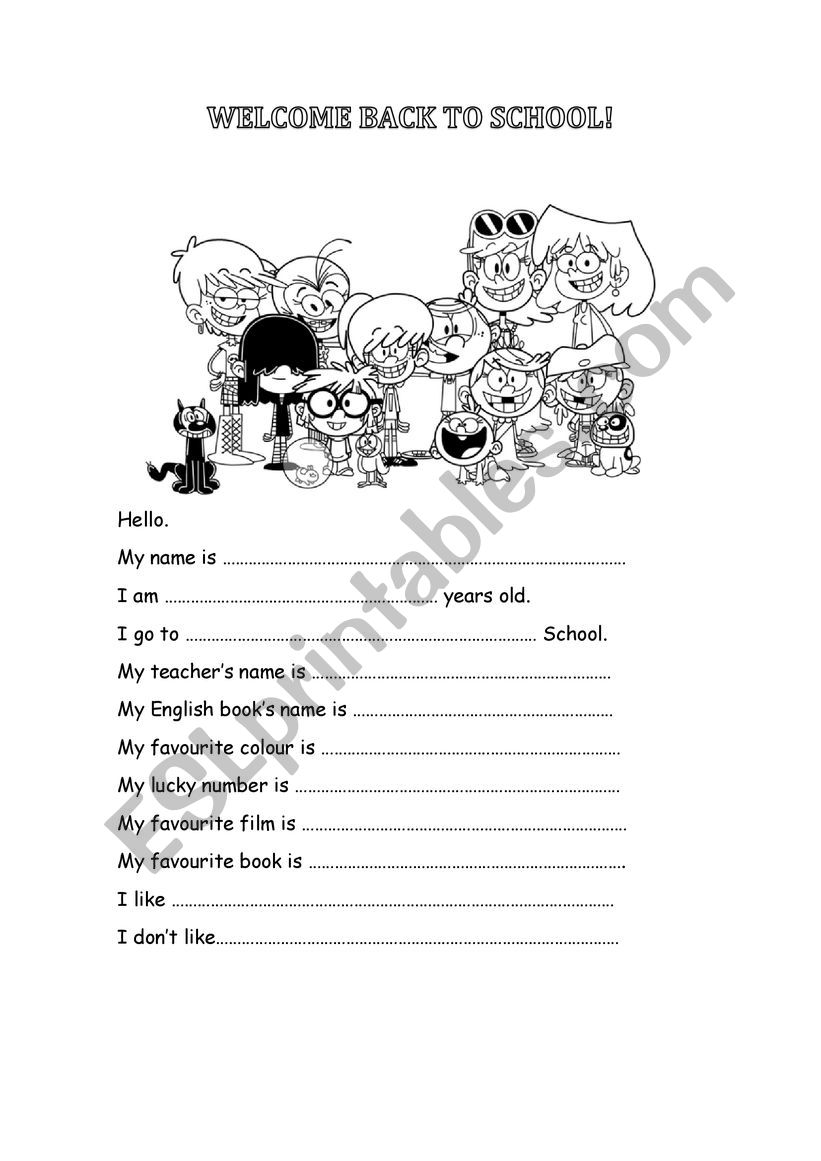 Welcome back to school! worksheet