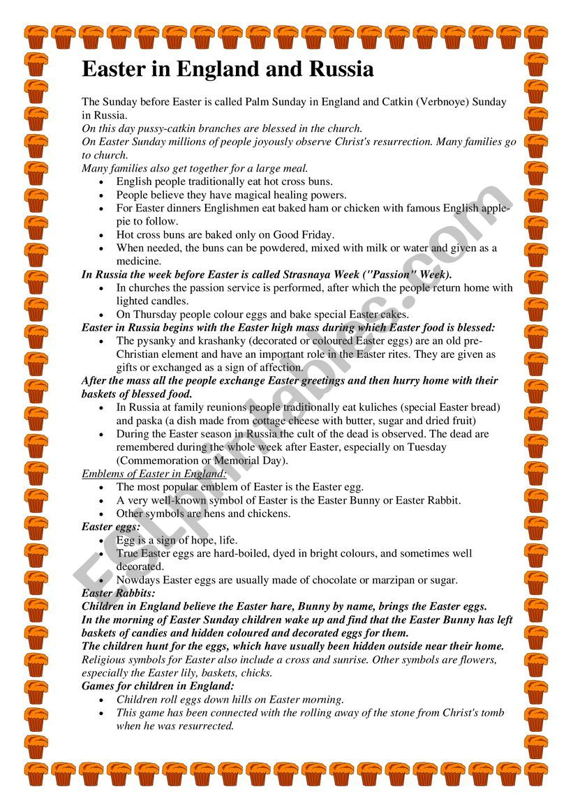 Easter in England and Russia worksheet