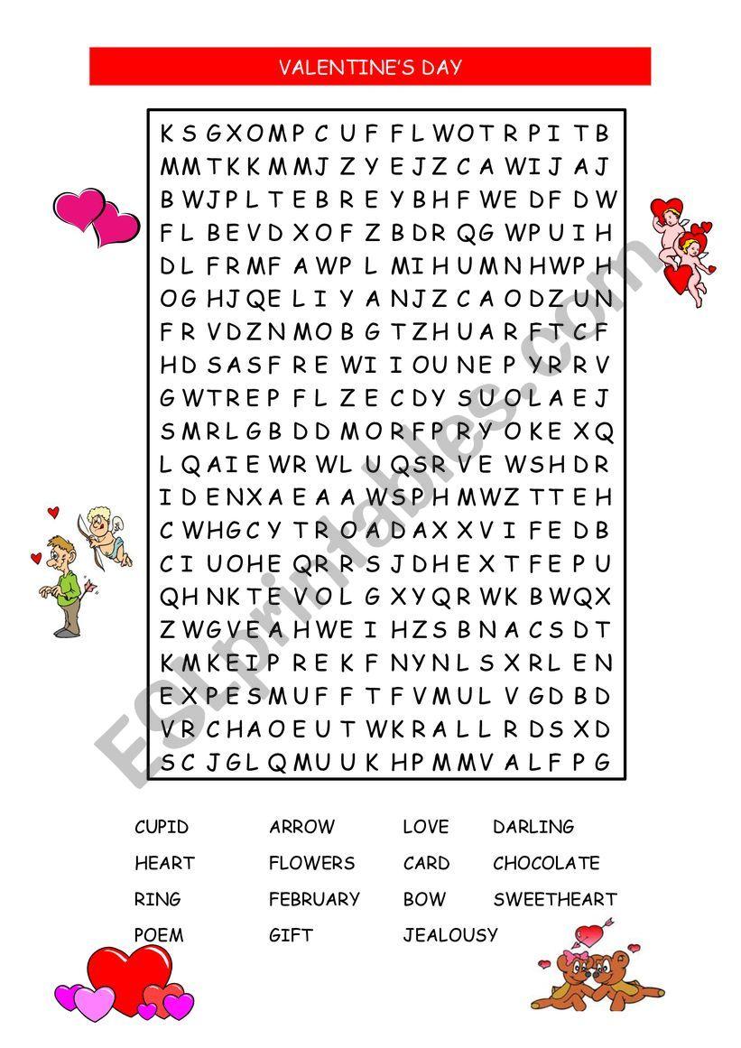 VALENTINE�S WORD SEARCH worksheet
