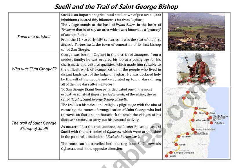 The trail of Saint George Bishop of Suelli