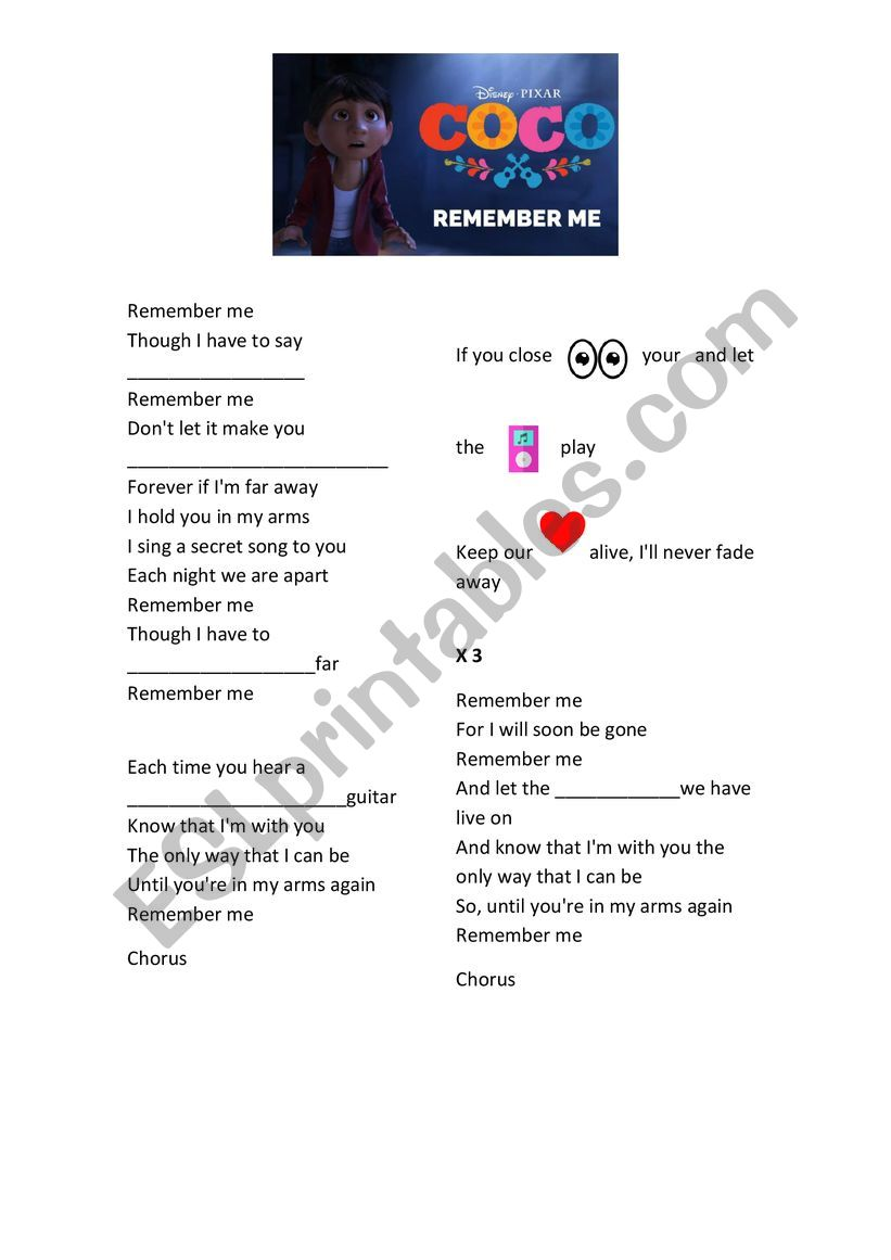Remember Me - Coco Film Song worksheet