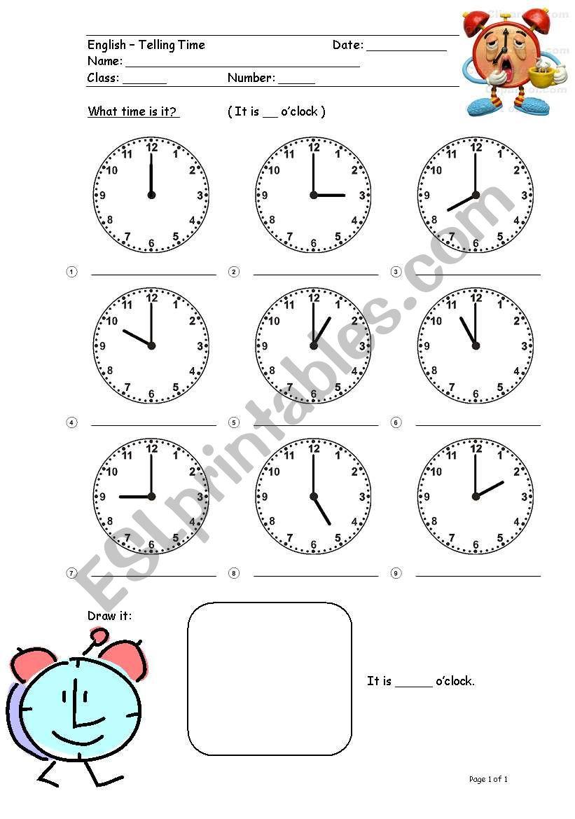 Worksheet (Telling Time 1) worksheet