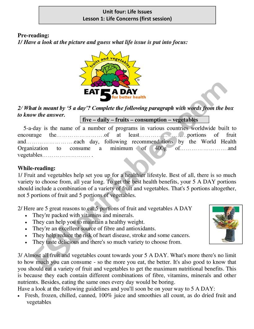 unit 4 lesson 1 five a day worksheet