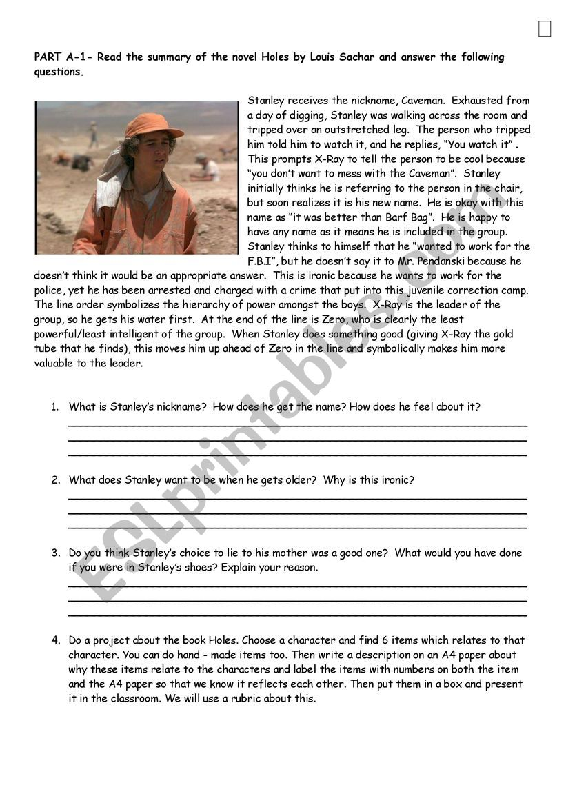 - Holes Novel Reading Passage With Questions And Project - ESL