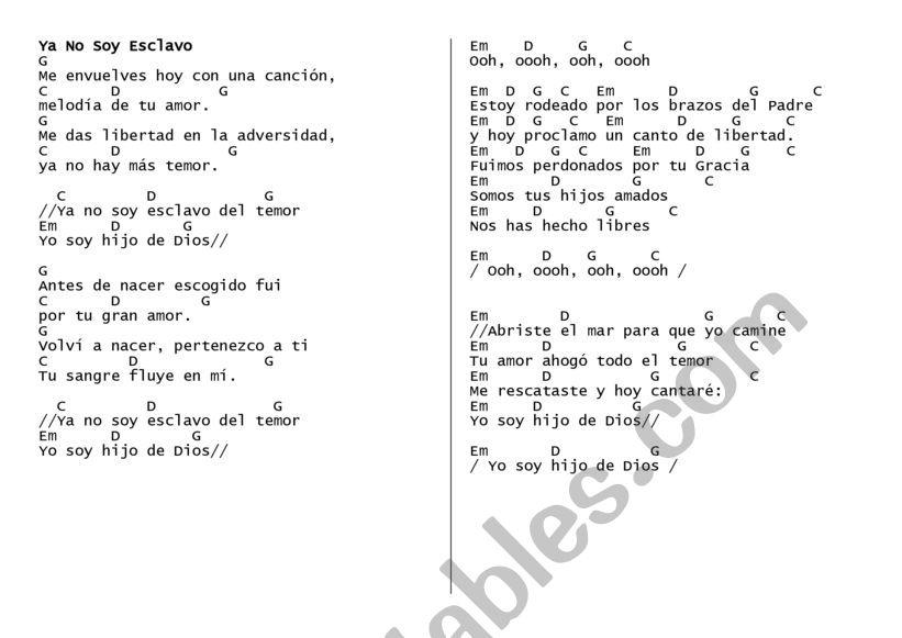 Cancion worksheet