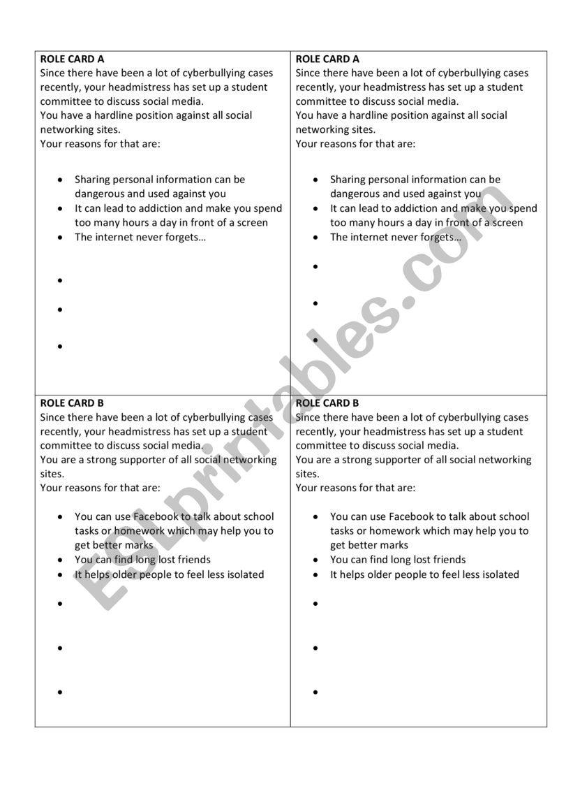 Debate on social media - ESL worksheet by skleinbe