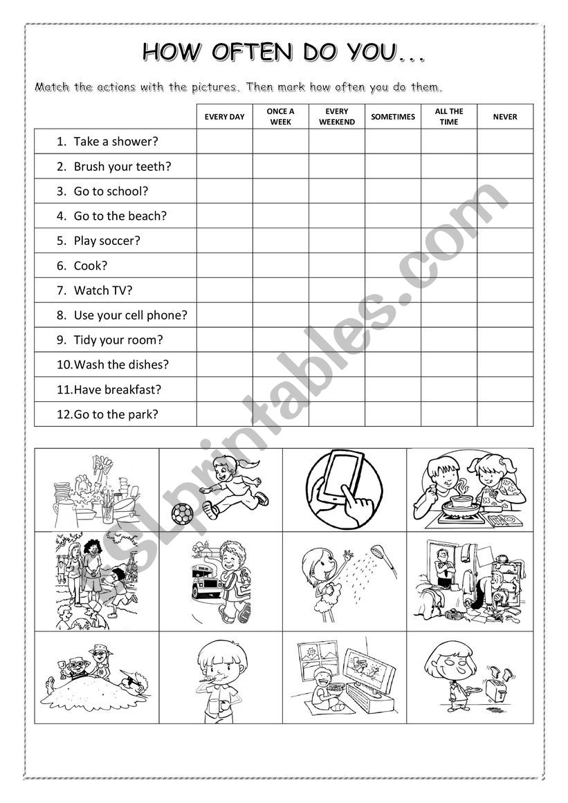 How often do you do this? worksheet
