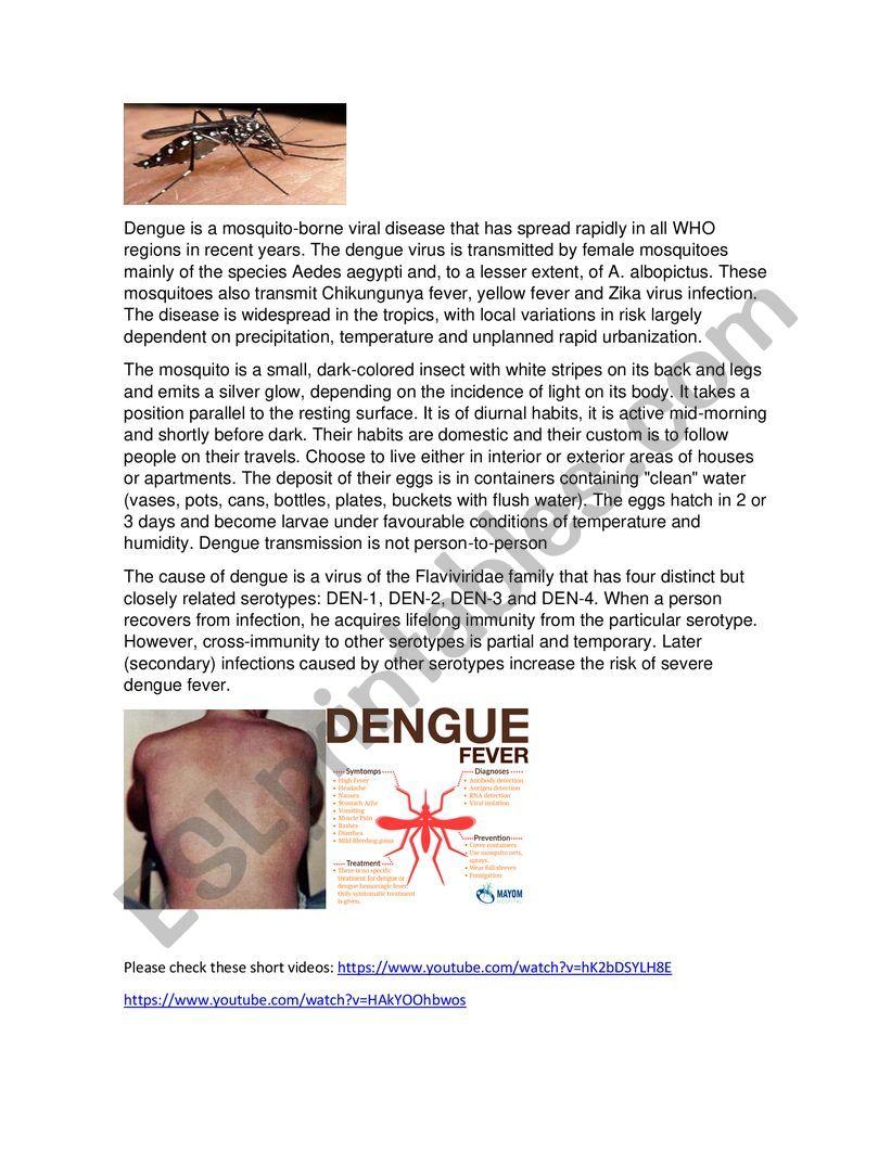 DENGUE A SILENT KILLER worksheet