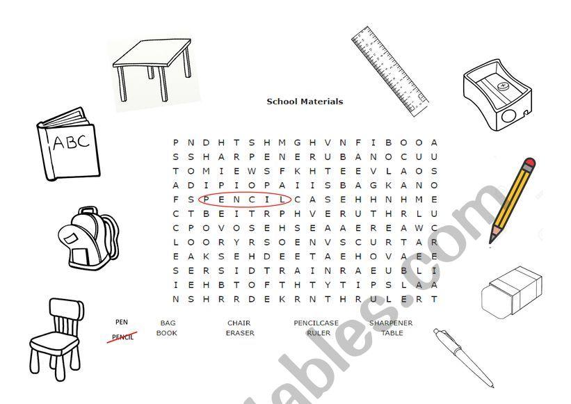 school materials worksheet