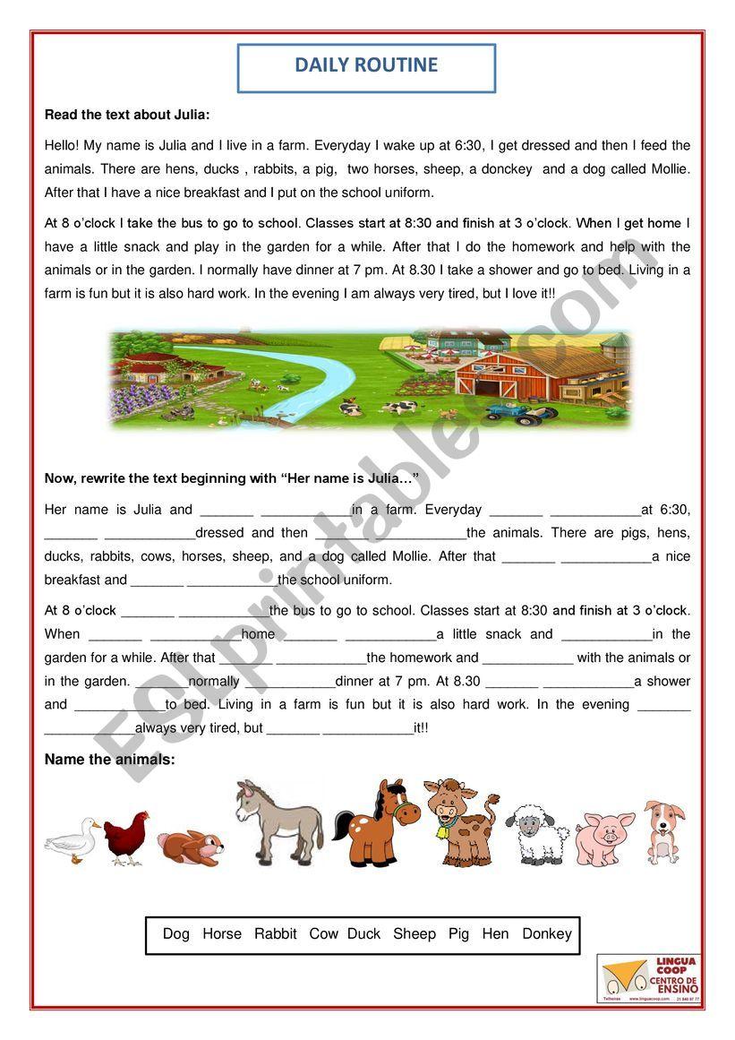 Julia�s daily routine worksheet