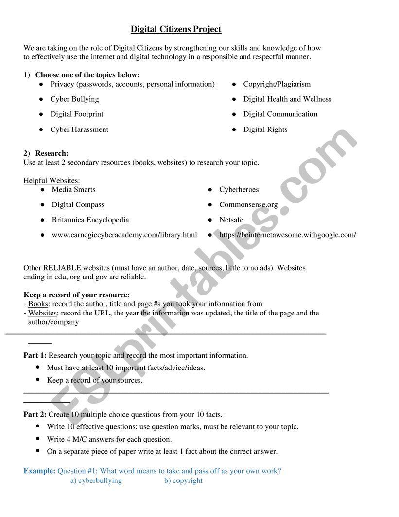 Digital Citizenship Project worksheet