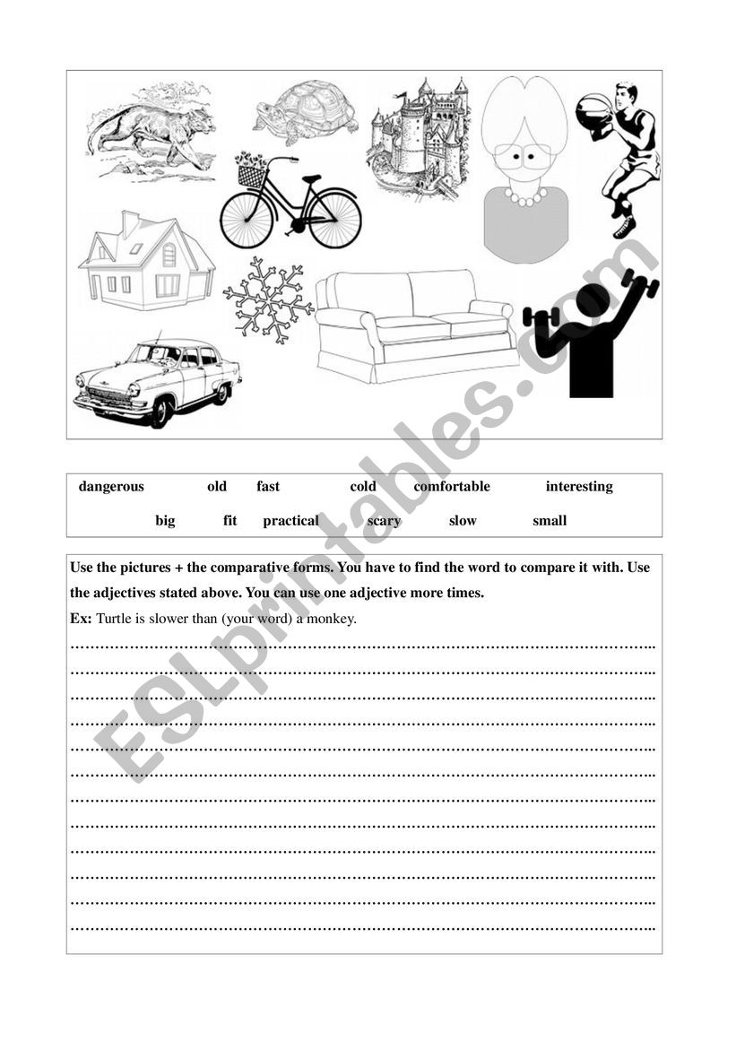 Comparative forms game worksheet
