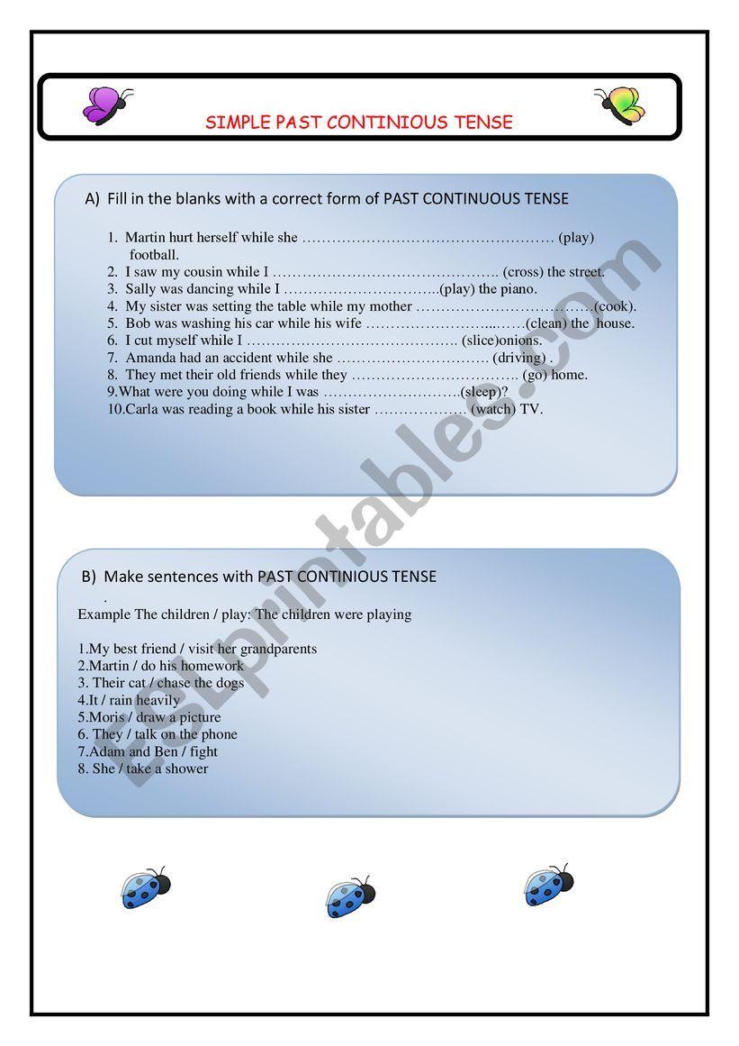 Sımple Past CONTINIOUS worksheet