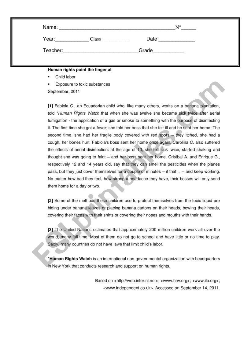 Test High school 2nd grade worksheet