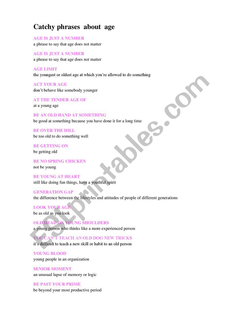 Catchy phrases about age worksheet