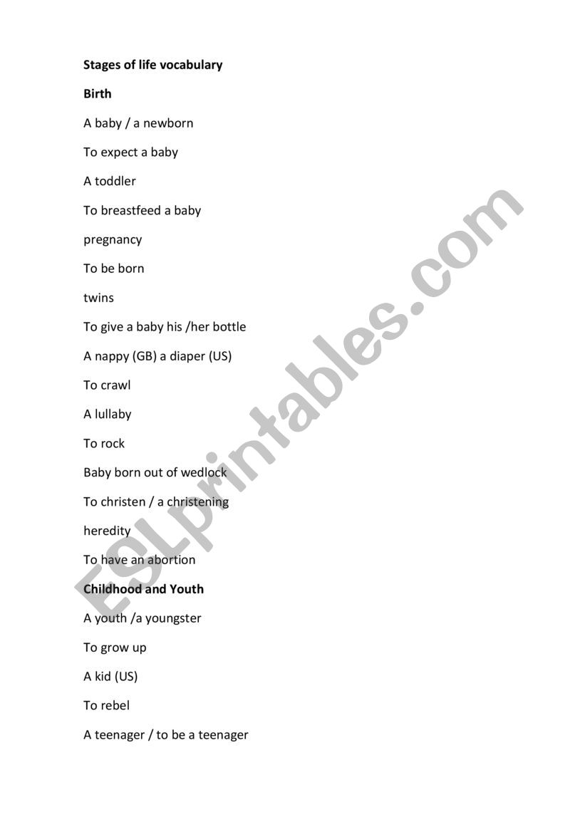Stages of life vocabulary worksheet