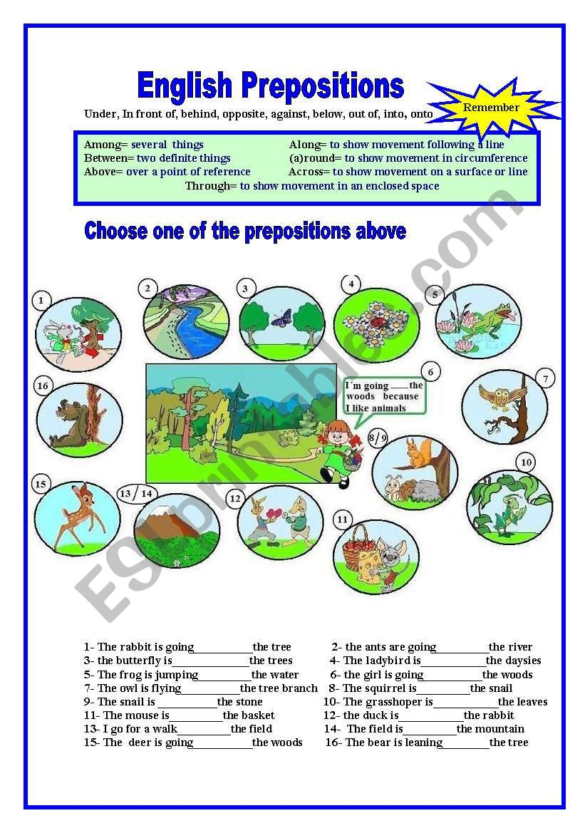 English prepositions worksheet