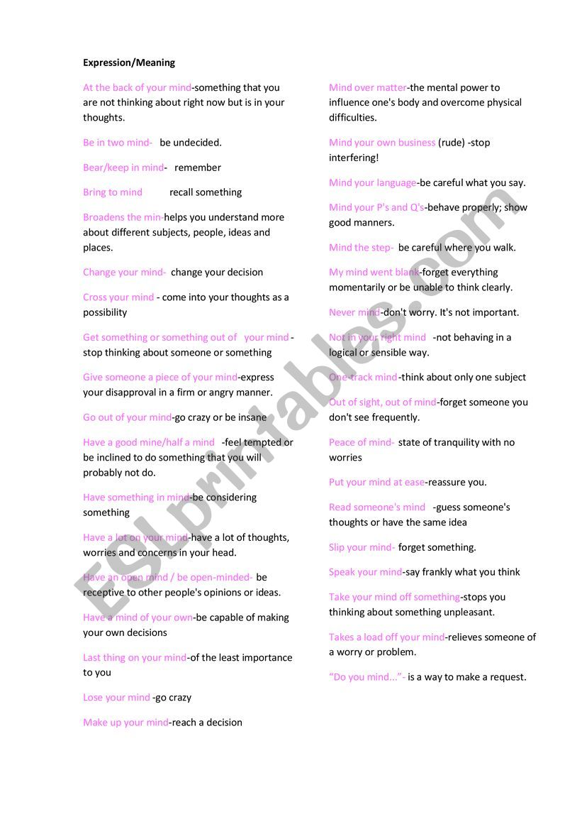 Expression with mind worksheet